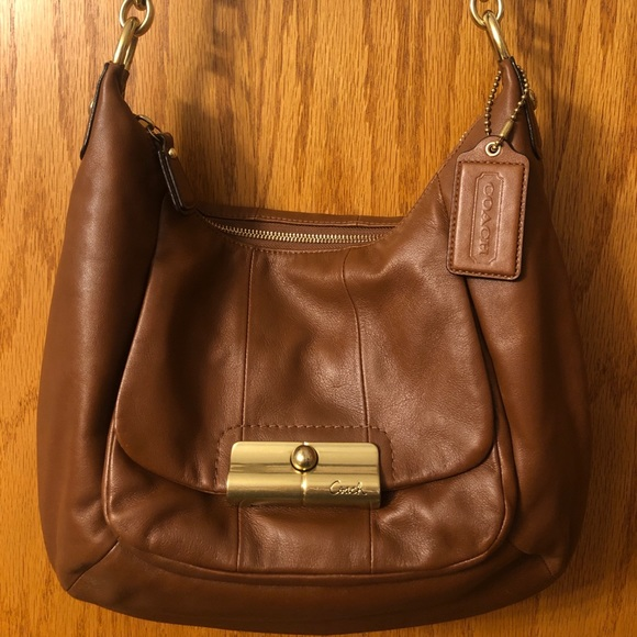 Coach Handbags - Authentic Tan Leather Coach Shoulder Bag